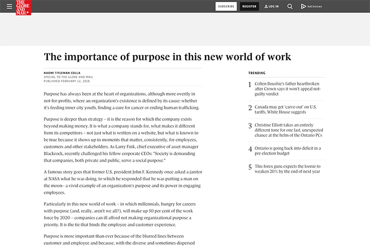 The importance of purpose in this new world of work